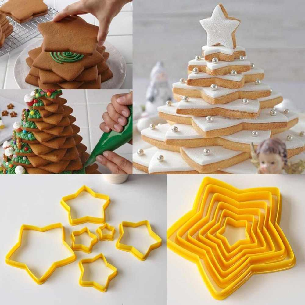 6pcs Set Cookies Cutter Frame Fondant Biscuits Cake Mould Diy Star Moulds Christmas Cookie Maker Cake Decorating Tool