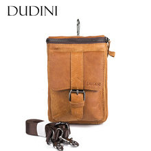 [DUDINI] Vintage Shoulder Bag Genuine Cow Leather Casual Multi-Funciton Bag Men's Phone Mini  Messenger Bag Waist Belt Pack