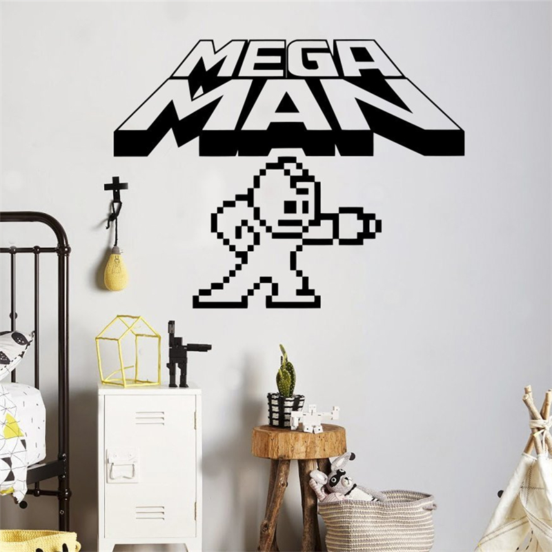 2018 Real Stickers Mega Man Pixels Wall Decal Video Game Logo Vinyl Sticker Retro Home Interior Children Kids Room Decor X043 image