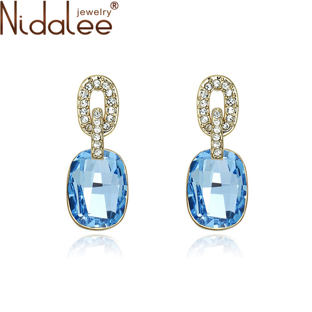 Nidalee Brand Fashion Jewelry New 2017 Big Round Earrings Women Wedding Party Crystal From Swarovski Earrings Wholesale B812
