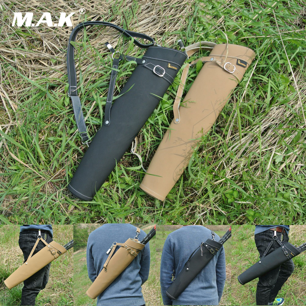 Pure Leather Arrow Quiver Shoulder-back Design 52X13cm In Black/Yellow Can Hold 30 Pcs Arrows For Archery Hunting Shooting