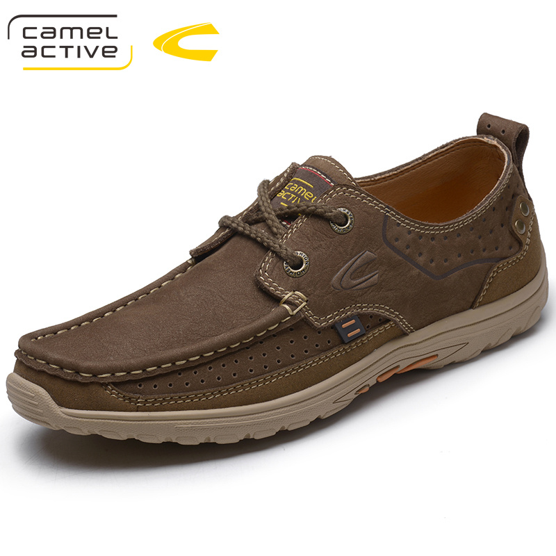 Camel Active Men Casual Driving Shoe Handmade Genuine Leather Men Loafers Boat Shoes Breathable Moccasins Plus Size 38 44 18001