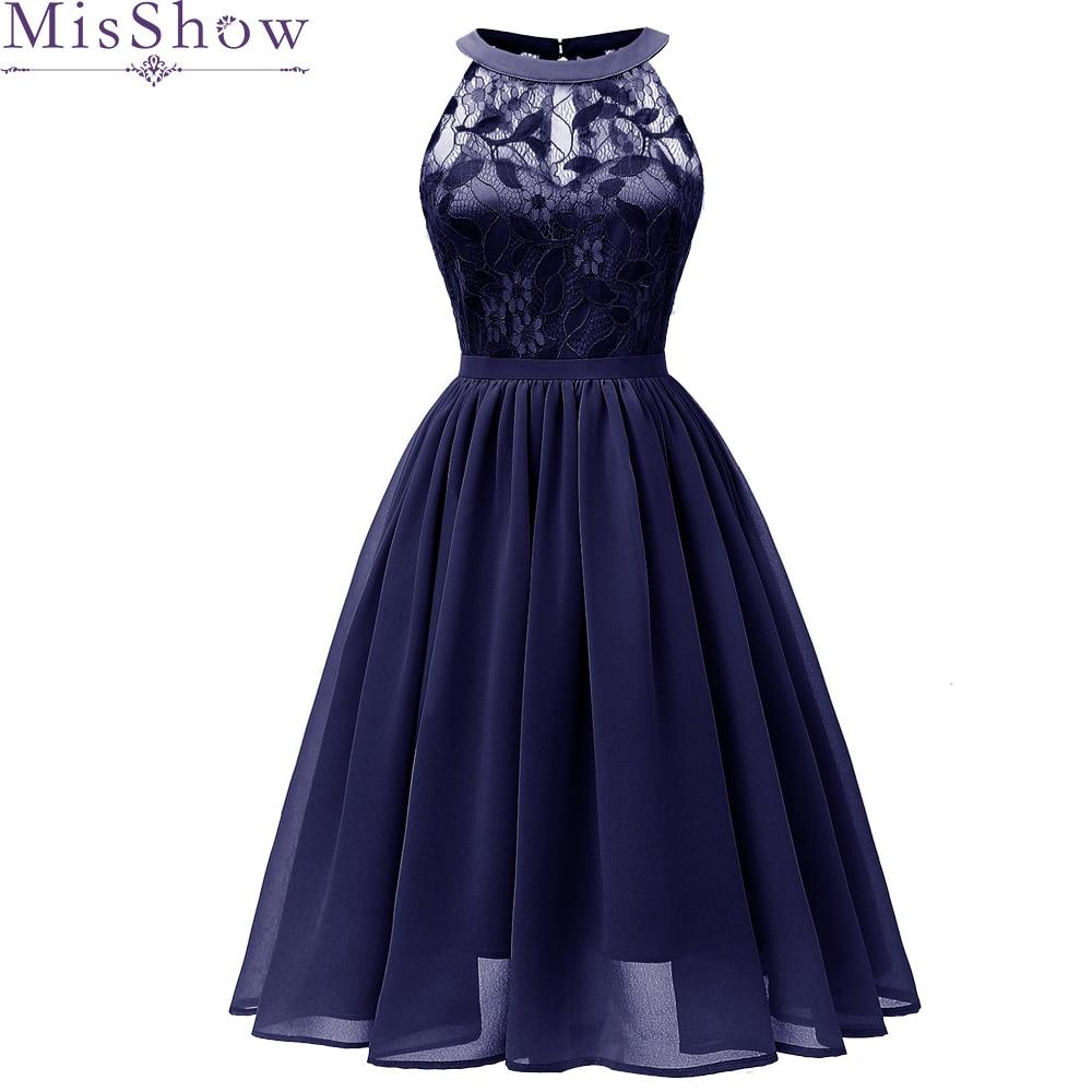 Elegant Summer   Cocktail     Dress   2019 Navy Blue Lace Knee-Length ALine Sleeveless Women Vestidos Halter Sexy Women   Cocktail     Dresses