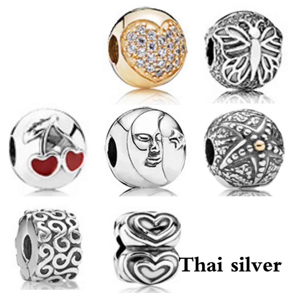 2019 Neue Thai Silber Retro Herz-förmigen Schmetterling Kirsche Maske Marine Herz Sicherheit Schnalle Hohe Qualität Begrenzte Sammlung Serie