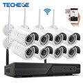 Techege 2016 nuevo plug and play p2p 8ch nvr kit inalámbrico 1080 P HD IR Al Aire Libre Sistema de CCTV Cámara de Seguridad De Vídeo IP WIFI