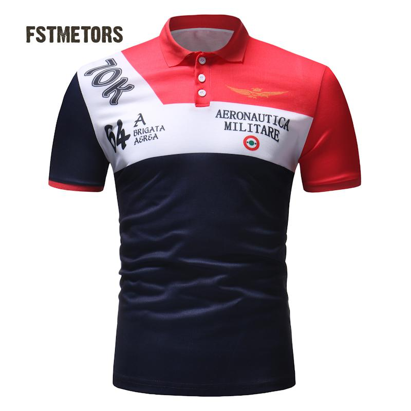 2018 New Arrival Fstmetors Short Polyester Casual Striped Slim Contrast Color Anti-pilling men   Polo   Shirts