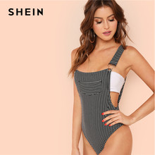 80929706ca7 SHEIN Stripe Bodysuit with Suspender Straps Sexy Mid Waist Pocket  Sleeveless Bodysuits Women Summer Skinny Backless Bodysuits