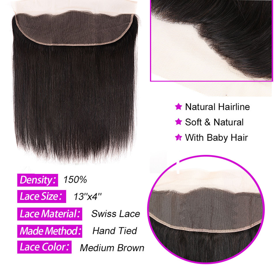 Peruvian Straight Hair Bundles With Frontal Miss Cara 100% Remy Human Hair 3/4 Bundles With Closure 13*4 Frontal With Bundles