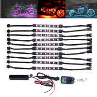 10pcs 60 LED Wireless RC Motorcycle Atmosphere Lamp RGB Flexible Strips With Wireless Remote Controller Smart