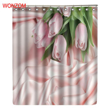 WONZOM Flower Shower Curtains Bathroom With 12 Hooks Waterproof Accessories For Decor Modern  Bath Curtain 2017 Home Gift