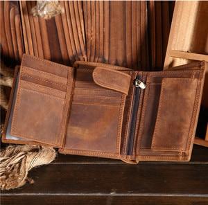 Image 4 - هدية عيد الأب خمر تخصيص جلد البقر الحقيقي قصيرة سميكة بطاقة النقدية عملة حافظة نقود حامل جيب للرجل 566