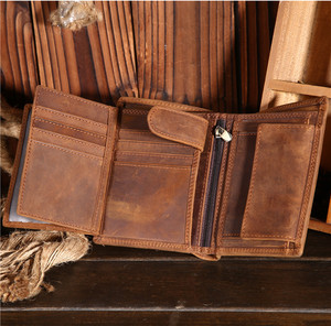 Image 4 - Fathers Day Gift Vintage Customize Genuine Leather Cowhide Short Thick Cash Card Coin Wallet Purse Pocket Holder for Man 566