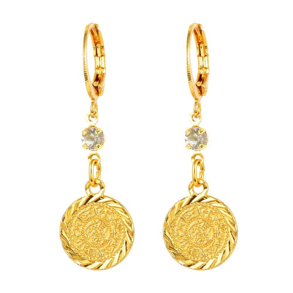 Arab Islamic Women Girls Gold-color Ancient Coins Dangle Drop Earrings Jewelry