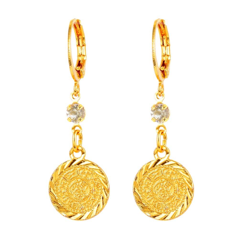 Arab Islamic Women Girls Gold color Ancient Coins Dangle Drop Earrings JewelryDrop Earrings