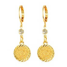 Arab Islamic Women Girls Gold color Ancient Coins Dangle Drop Earrings Jewelry
