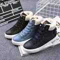 Casual Denim Canvas Shoes Women Fur Warm Plush Snow Ankle Boots Winter Fashion High Top Thick Solid Flats Female Zapatos Mujer