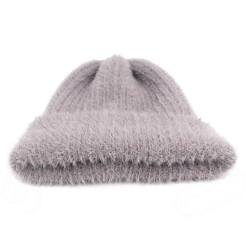 여자를위한 간단한 토끼 모피 비니 모자 겨울 skullies 따뜻한 중력 폭포 모자 gorros 숙녀 양모 앙고라 모자 여성 비니 모자