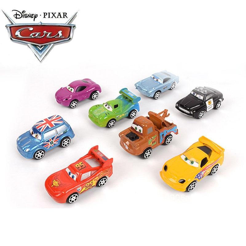 6cm 8pcs Disney Pixar Cars 3 Lightning McQueen Mater Jackson Storm Ramirez 1:55 Diecast ABS Pull Back Car Toy Model Boys Gifts