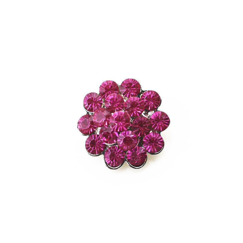Hot selling 18mm metal snap button rose red crystal flower charms for snap button pendant jewelry Bracelet&Bangle