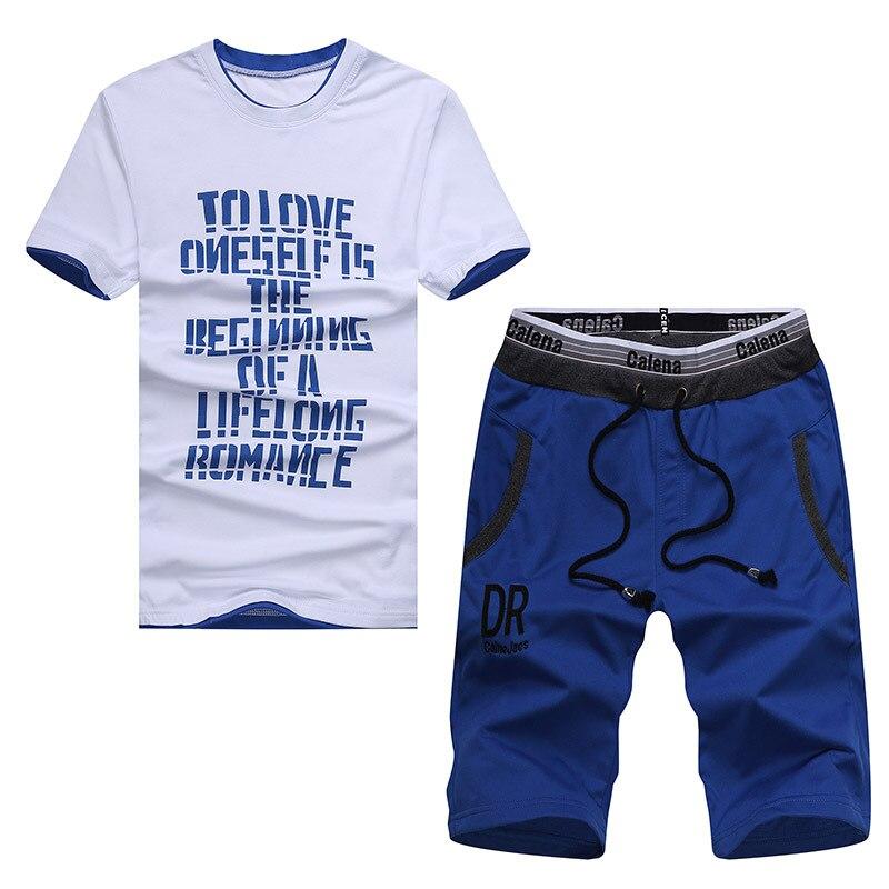 Browon лето плюс Размеры 4xl Наборы Мужские Футболка дышащий письмо Дизайн короткий рукав o-образным вырезом хлопковые футболки + Шорты для женщ...
