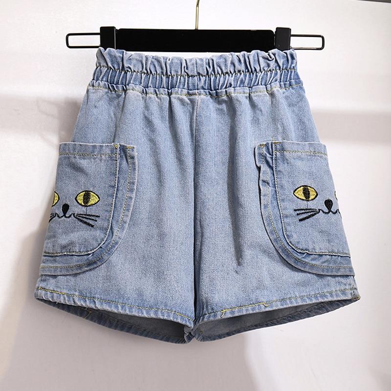 Women Denim Shorts Elastic Waist Cat Embroidery Plus Size 5xl Short Jeans 2019 Lady Summer Big Pocket Casual Shorts Feminino