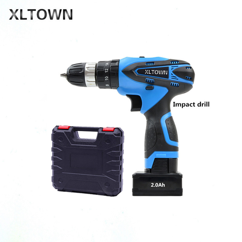 XLTOWN 25V 2000mA Impact Drill Rechargeable Lithium Battery Electric Screwdriver Cordless Household Electric Drill Power tools цена