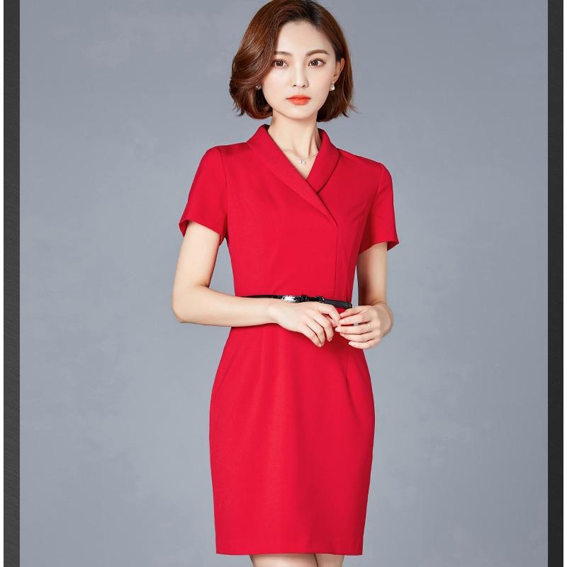 88f473f2cf7 3xl blue Solide Couleur Ztt21 Mode S 2018 Mince Femmes Section Vent Taille  D été Nouvelle Professionnel Manches Longue Black Robe Courtes red Grande  ...