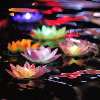 LED Artificial Lotus Lamp Colorful Changed Floating Flower Lamps Water Swimming Pool Wishing Light Lanterns Party Supply Decor image