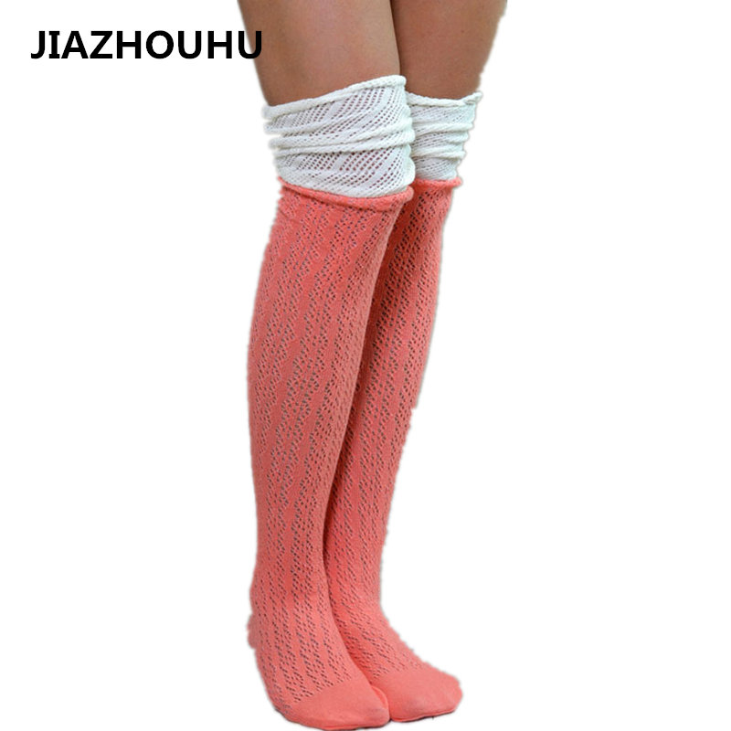 European Patchwork Lace Sexy Stockings For Boots High School Women's Socks Cotton Compression knee Long Girl's Knee High Socks