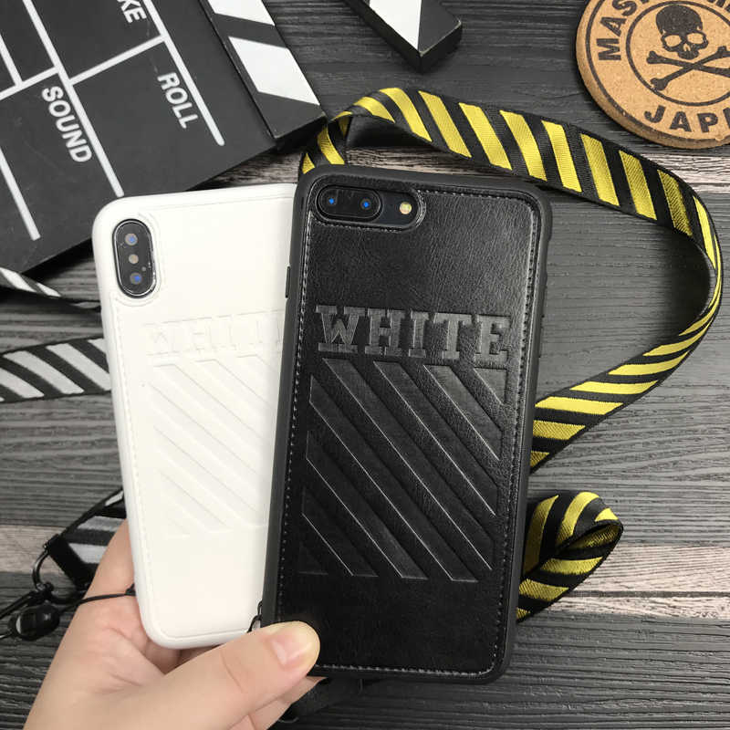 free shipping 10b1f 31f97 Hot off ow stripes soft leather cover case for iphone 6 6S S 7 7 plus 8 X  10 XR XS MAX white Lanyard crossing phone cases couqe