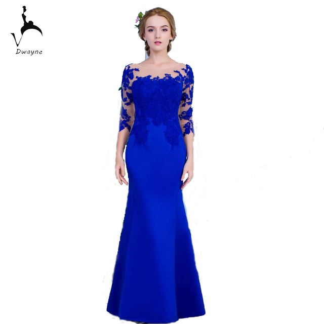 Us 145 5 Dwayne Beautiful Ladies Fashion Royal Blue Dress Evening Party With Appliques Mermaid Style Dresses Prom Vestido De Noche In Evening