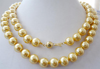 FREE shipping > >>>>10mm yellow South sea shell pearl necklace 32 AAA+008