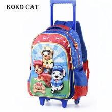 Cartoon 3D Kids Children School Trolley Bag Cute Dog Boys School Bags With Wheel orthopedic satchel Mochila Escolares infantil цена