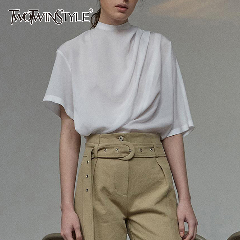 TWOTWINSTYLE Summer Solid Shirt For Women Stand Collar Asymmetrical Sleeve Ruched Casual Blouse Female Fashion Clothing 2020