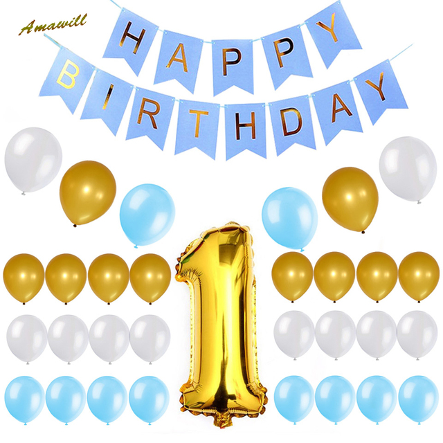 Amawill 1st Birthday Party Decorations Set For Boys Blue Happy Banner Gold Number One Balloon