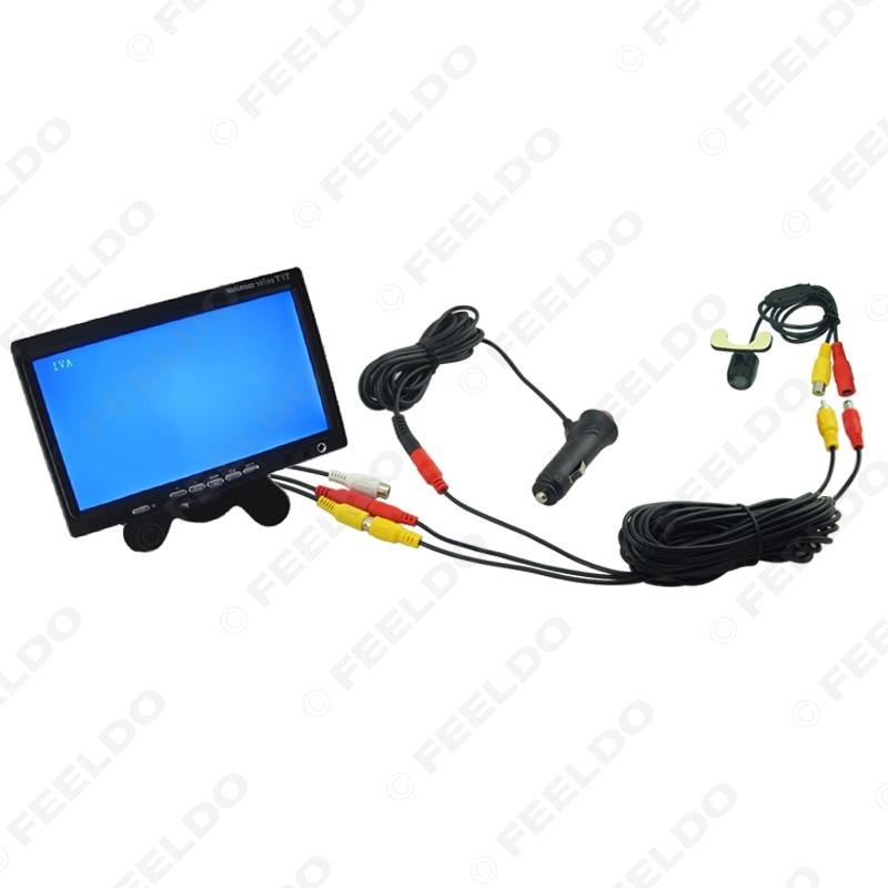 ФОТО 12V Car Cigarette Lighter RCA Video Cable Fast Quick Install 7inch Monitor Mini Rear View Camera Kits #FD-2396