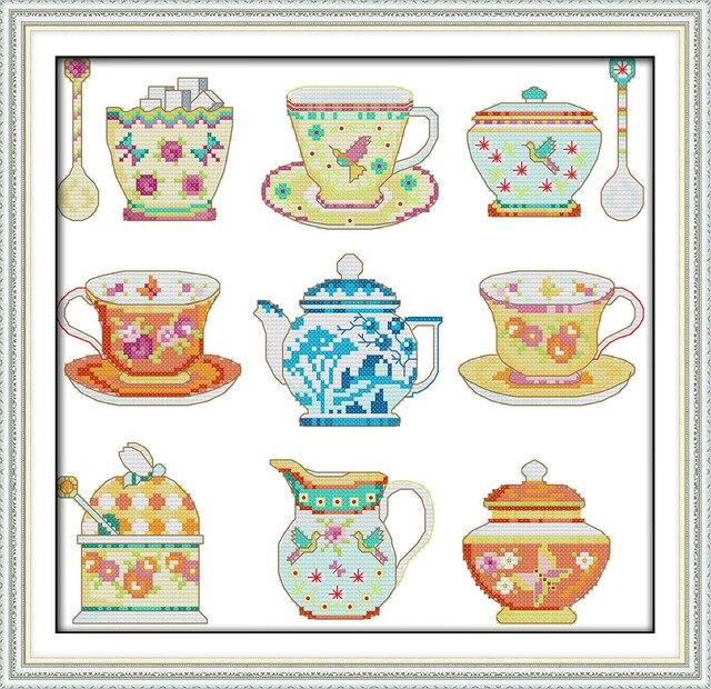 Juego de té (2) cruz puntada kit dibujos animados cocina patrón ...