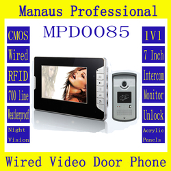 High Quality Smart Home 7 inch Screen Display Video Intercom Phone Wired RFID Magnetic Lock One to One Video door phone D85b