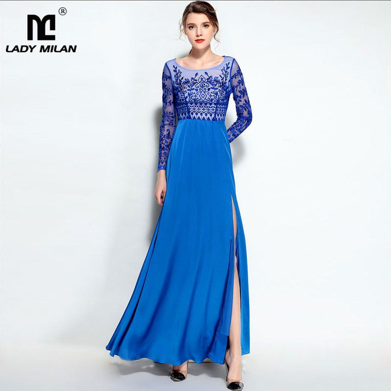New Arrival 2018 Womens O Neck Long Sleeves Embroidery Party Prom Sexy Split Maxi Long Desinger Runway Dresses
