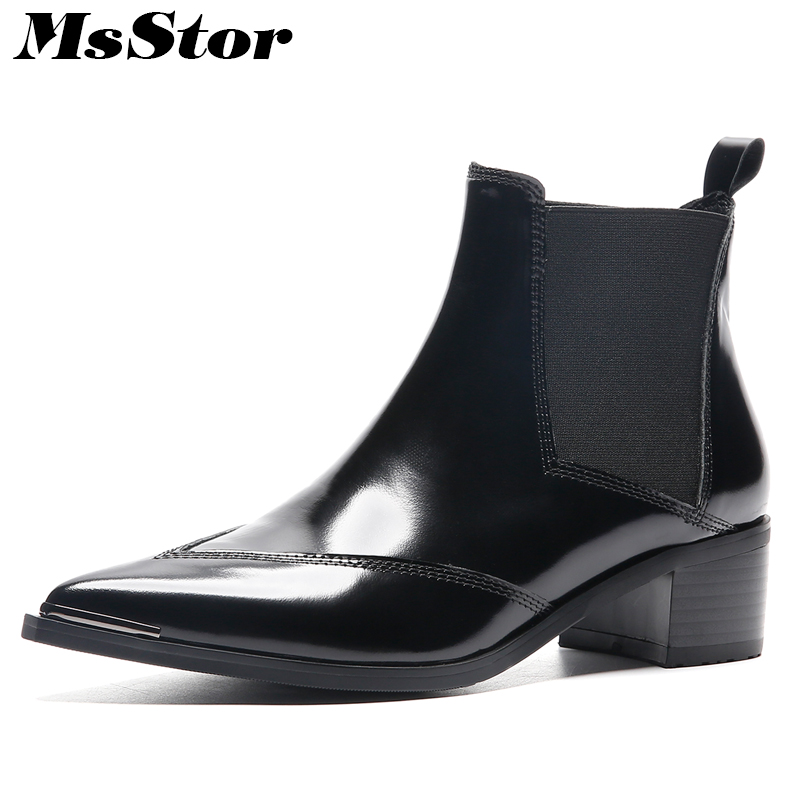MsStor Women Boots 2018 Hot Selling Pointed Toe Med Heel Ankle Boots Women Shoes Genuine Leather Square heel Boot Shoes For Girl msfair women boots 2018 hot selling crystal ankle boots women shoes pointed toe high heel boot shoes square heel boots for girl