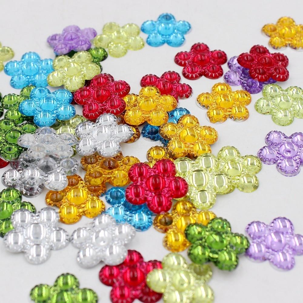10 x 18mm Acrylic Flat Back Rose Flower Cabochon Embellishments Mix Colour Craft