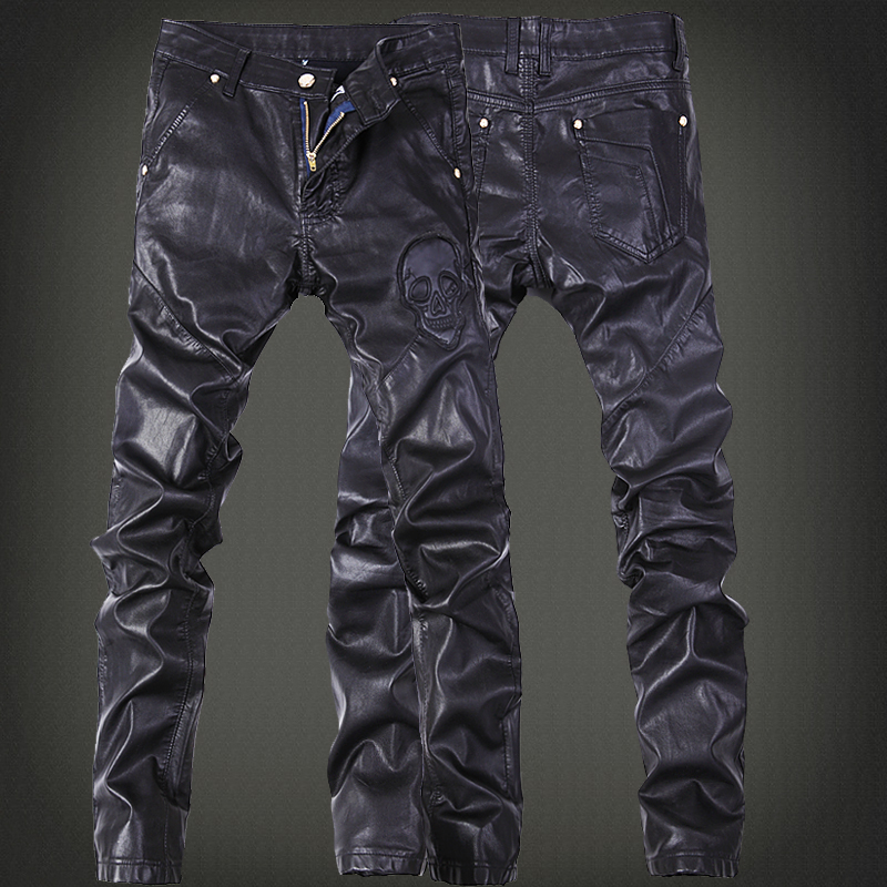 Free Shipping New 2017 Outdoors Leather Pants Men Brand Fashion Skull Tag Patchwork Mens Skinny Motorcycle Leather Jeans Men/PK5