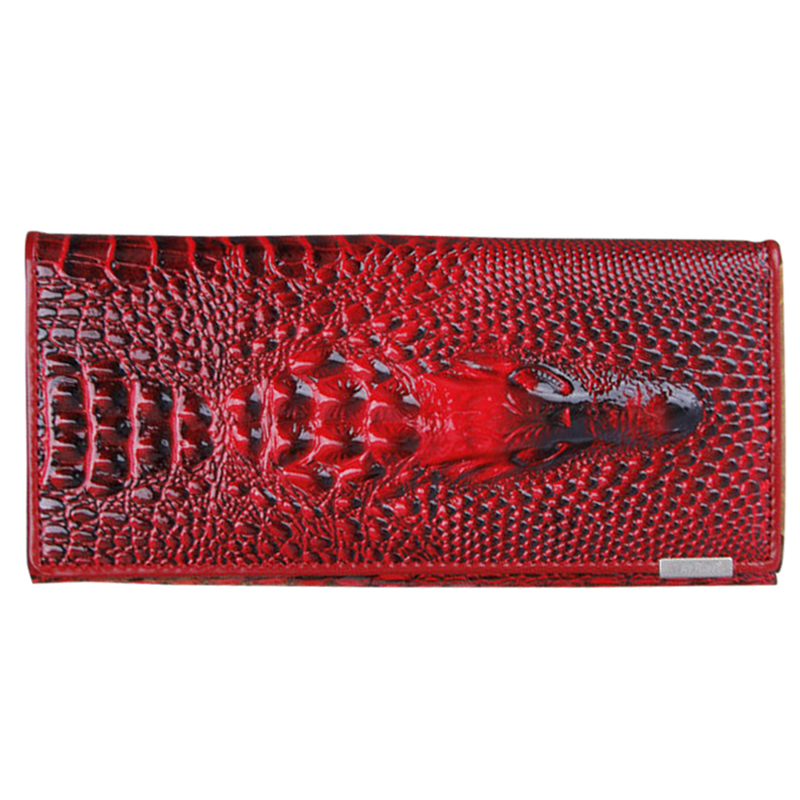 Women Wallet Female 2016 Coin Purses Holders Patent leather 3D Embossing Alligator Ladies Crocodile Long Clutch Wallets(Dark R
