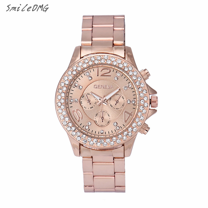 SmileOMG Hot Sale Fashion Geneva Women Rhinestone Crystal Quartz Analog Wrist Watch Free Shipping ,Sep 16 smileomg hot sale fashion women watch panda faux leather band analog quartz wrist watch christmas gift free shipping sep 6