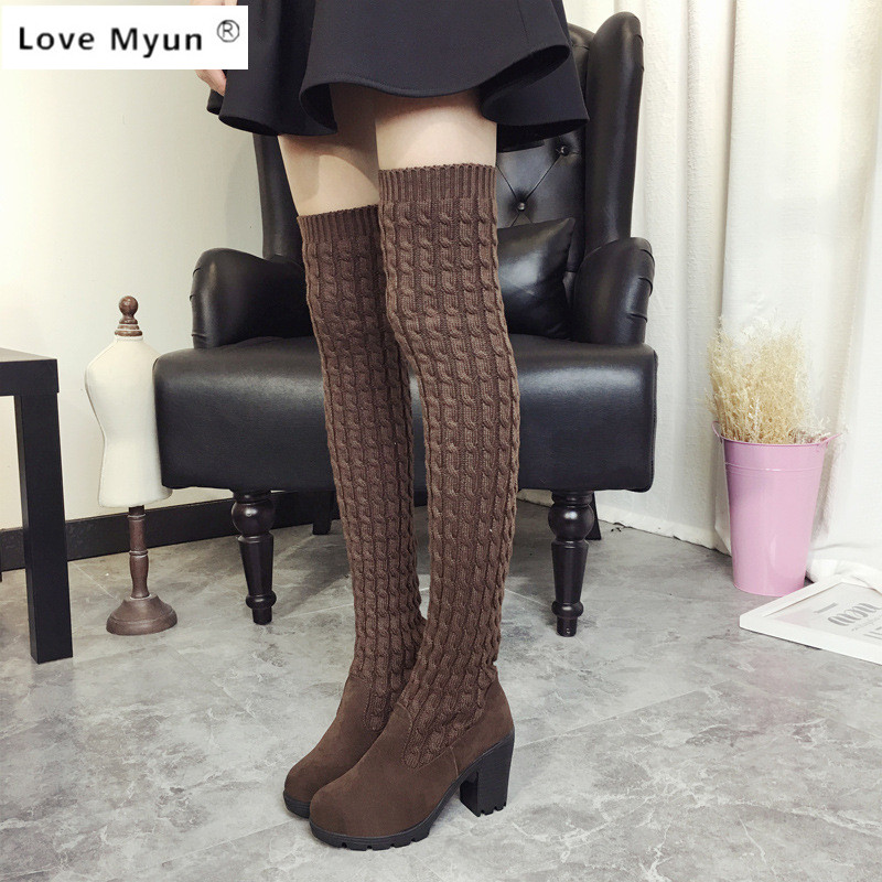 2017 Fashion Knitted Women Knee High Boots Elastic Slim Autumn Winter Warm Long Thigh High Boots Woman Shoes Size 35- 40 072 fashion women boots knee high elastic slim autumn winter warm long thigh high knitted boots woman shoes or935432