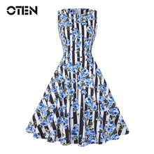 IHOT Women Summer Dresses 2016 Vestidos Floral Print Casual Vintage Rockabilly 1950s Halter Gown Skater Bridesmaid Dress