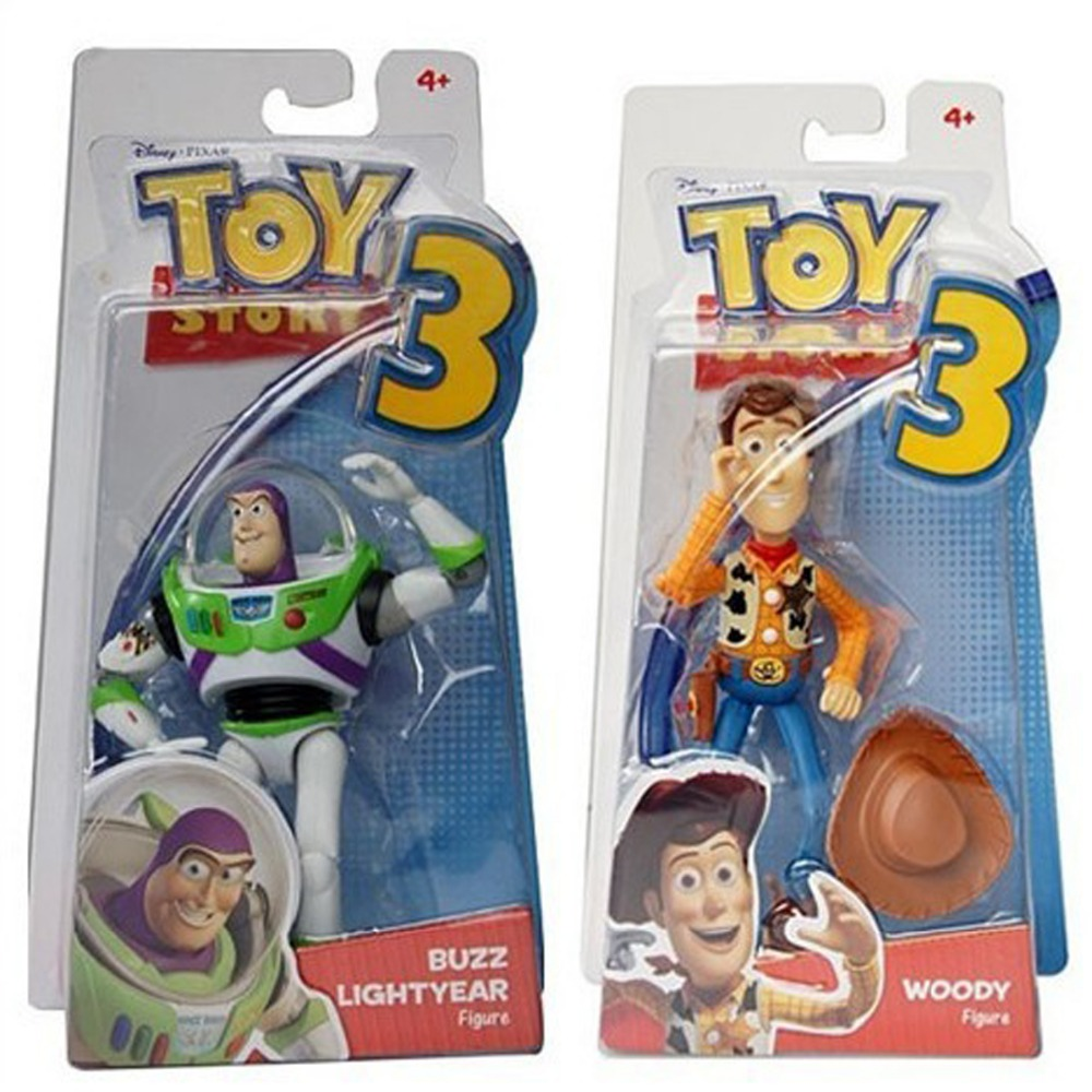 2pcs Set Toy Story 3 Buzz Lightyear & Sheriff Woody 6/16CM Action Posable Figure Free Shipping 2017 new arrival toy story 3 buzz lightyear toys lights voices speak english action figures 10 inch fb253