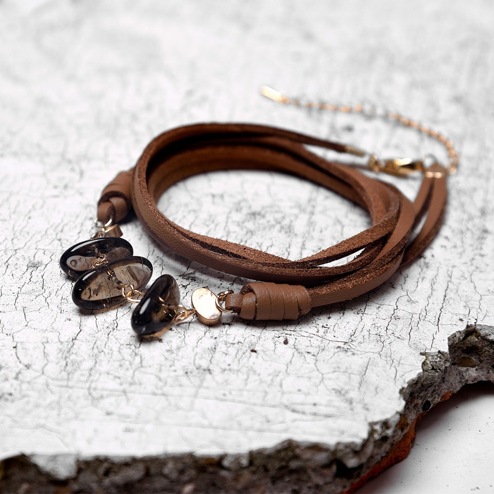 Leather Natural Stone Pendant Bracelet