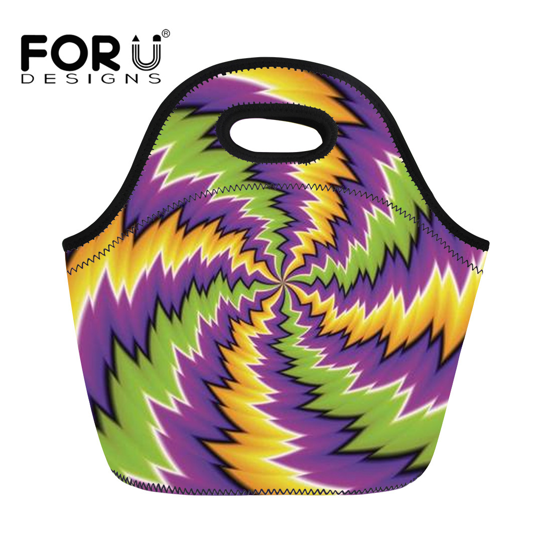 FORUDESIGNS 2018 Waterproof Lunch Bag for Women Illusion Printing with Zipper for Kid School Food Container Thicken Lancheira