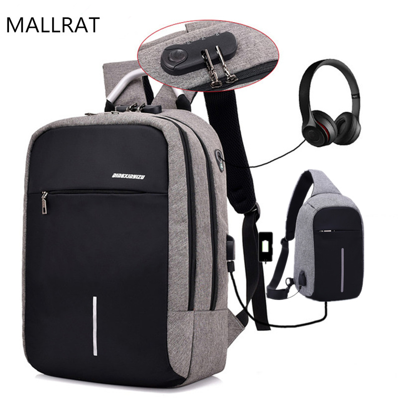 MALLRAT USB Charge Anti-Theft Laptop Men Backpacks Mochila Waterproof Women School Bags Travel Daypack Unisex Rucksack Male usb charging backpacks casual travel men laptop backpack anti theft bags male gray daypack male mochila school bag